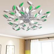 vidaXL Zelená a biela stropná lampa s akrylovými krištáľovými lístkami