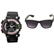 CALIBRO Black mtg Round dial men's watch Black Wayfarer Sunglass