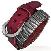 Bratara piele cu catarama si accesorii metalice