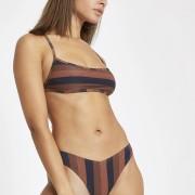 River Island Womens Brown stripe square neck tie back bikini top (6)