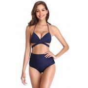 Shekini Trajes de baño para Mujer Cintura Alta Partes de Abajo Acolchadas Halter Vendaje Acolchado Fijo Bikini Trajes de baño de Dos Piezas (S,Azul Oscuro