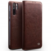QIALINO Classic Genuine Leather Card Holder Case for Huawei P30 Pro - Brown