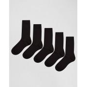 ASOS Комплект из 5 пар черных носков ASOS - СКИДКА - Черный