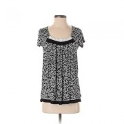 DKNY Short Sleeve Top Black Print Scoop Neck Tops - Used - Size X-Small