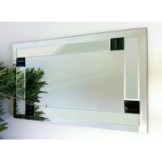 Florida Clear and Black Glass Bevelled Mirror 122X61cm