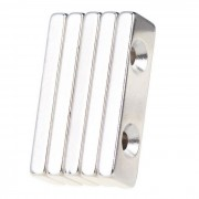 Agujeros dobles del iman del neodimio NdFeB del rectangulo de 40 * 12 * 4m m - plata (5PCS)
