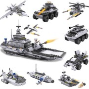 Cogo 743+pcs 8 In 1 Aircraft Carrier Blocks Military Airplane Ship Kids Building Blocks Toys