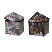 Pouf Puff scatola porta giochi Contenitore Pieghevole ecopelle natale