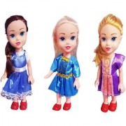 Emob 3 Pretty Sisters Dolls with Beautiful Long Hairs and Moveable Body Parts (Multicolor)