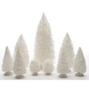 Bellatio Decorations Miniatuur boompjes wit 9 stuks