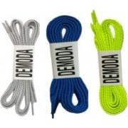 DE'MODA Flat pack of Neon green,Blue,Grey Shoe Lace(Neon green, Grey, Blue Set of 3)