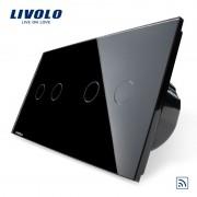 Intrerupator dublu + dublu cu touch Wireless Livolo din sticla, negru