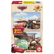 Puzzle din lemn Educa - Disney Cars, 2x50 piese (13138)