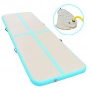 vidaXL Надуваем дюшек за гимнастика с помпа, 600x100x10 см, PVC, зелен