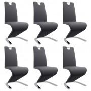 vidaXL Трапезни столове, зигзагообразни, 6 бр, сиви, изкуствена кожа