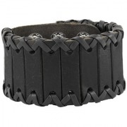 The Jewelbox Stitched Biker Funky Braided 100 Genuine Handcrafted Black Leather Wrist Band Bracelet Boys