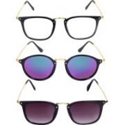 Reyda Rectangular, Round, Rectangular Sunglasses(Clear, Pink, Violet)