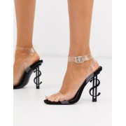 Public Desire Cash heeled sandal with clear upper in black - female - Black - Size: 7