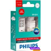Philips LED Ultinon T20 W21/5W Vermelho 11066ULRX2 ( 2 Lâmpadas )
