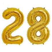 Stylewell Solid Golden Color 2 Digit Number (28) 3d Foil Balloon for Birthday Celebration Anniversary Parties