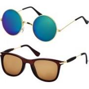 Freny Exim Wayfarer, Round Sunglasses(Multicolor, Brown)