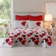 Lenjerie de pat Dormisete bumbac 100 Poppy Lollipop pentru pat 2 persoane 4 piese 180x215 / 50x70 cearceaf pat uni rosu deschis Lollipop