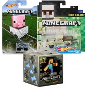Minecraft Hot Wheels Iron Golem Pickup Truck Character Car + Minecart ride-on Cube Box car + Minecraft Series Craftables blind Box Mystery mini Figure