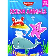 EduQuest - Jigsaw Puzzle - Ocean Animals - 2-4 years old - Set of 3 puzzles - 2,3,4 piece puzzles - Whale (2 pieces), Crab (3 pieces), Star-fish (4 pieces)