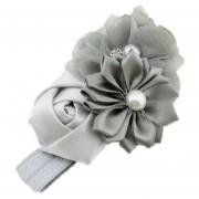 ELENXS del pelo del bebé niña de las flores Banda Perla Headwear para 3-36 Meses elástico magnífico suave práctica recién nacido Gray