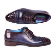 Paul Parkman Woven Leather Cap Toe Oxford Shoes Navy & Purple 49851-NAVY