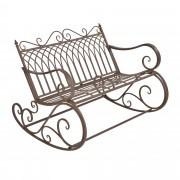 Метална градинска люлееща се пейка за двама [casa.pro] стил Vintage 85 x 113 cm, до 200 kg, Кафява