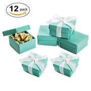 Mowo Candy Boxes With Lids And Ribbon Favor Box 2.5X1.5X2.5, Mint Green, Pack Of 12