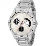 BRAG-WHT stainless steel chain white dial chronolook mens watch