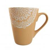 Cana MANDALA culoare Ocru 300 ml Ceramica