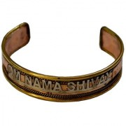 Men Style Om Nama Shivay Half Kada Brown Copper Round Cuff For Men And Women