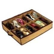 Skyzone Pair Shoes Storage Organizer Holder Shoe Bag Box Under Bed Closet(Brown)
