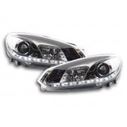 Set fari fanali proiettori anteriori TUNING VW GOLF VI 2008-2012 berlina e Cabrio 2011-2015, cromati, con luci DIURNE a LED omologate R87, alogeni H7 barra LED