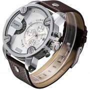 Cagarny 6818 Moda DZ Estilo Gran Dial Reloj Doble Movimiento De Cuarzo Reloj De Pulsera Con Banda De Ecocuero Deportivo Y Funcion De Calendario Para Los Hombres (marrón Band Plateado Caso)