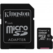 Kingston MicroSDXC 128GB memóriakártya Class10+UHS-1, SD adapterrel