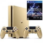 Конзола PlayStation 4 Slim, 500GB, Два геймпада, Златист+Игра Star Wars Battlefront II за PlayStation 4