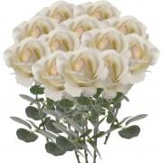 Geen 12x Creme witte rozen/roos kunstbloemen 37 cm
