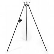 Trojnožka s kladkou Korono KOR682 180 cm z černé oceli s otočným závěsným háčkem a řetízkem