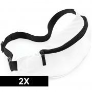 Bagbase 2x Heuptasjes/buideltasjes wit 38 cm
