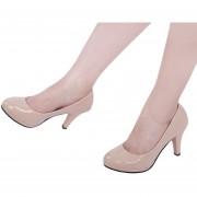 Zapatos De Tacón Alto Ladies Patent Leather Thick High Heel Shoes-Blanquecino