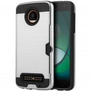 Funda Case para Motorola Moto Z Play Doble Protector de Plástico Card to Go para Uso Rudo-Silver