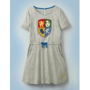 Mini Mittelgrau Jaspiert, Meliert Kleid mit Hogwarts-Wappen Mädchen Boden, 140, Grey
