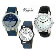 Mark Regal 2 Denim Leather Strap+1 Black Leather Strap Men's Watches Combo Of 3