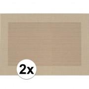 Geen 2x Placemats beige/bruin geweven/gevlochten met rand 45 x 30 cm