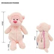 Mr. Bear & His Friends Cute Monkeys Stuffed Animals Pencil Cases Gorilla Chimp Plush Soft Dolls Toys for Children Kids Gifts Girls Hand Purses Toy - Pink