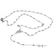 Collana rosario uomo o donna in Argento 925 croce liscia rod Oro bianco 56 cm